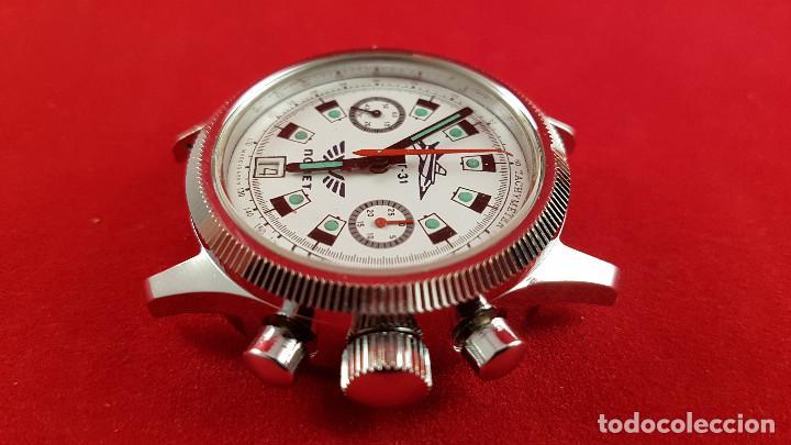 Relojes de pulsera: Reloj cronógrafo mecanico militar ruso POLJOT Buran ( Буран) de 1986 - Foto 14 - 184086755