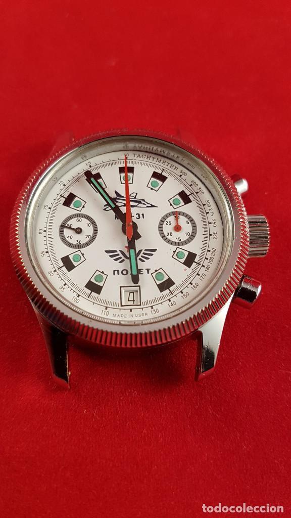 Relojes de pulsera: Reloj cronógrafo mecanico militar ruso POLJOT Buran ( Буран) de 1986 - Foto 15 - 184086755