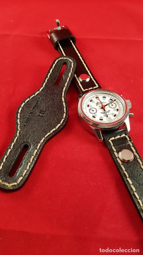 Relojes de pulsera: Reloj cronógrafo mecanico militar ruso POLJOT Buran ( Буран) de 1986 - Foto 21 - 184086755
