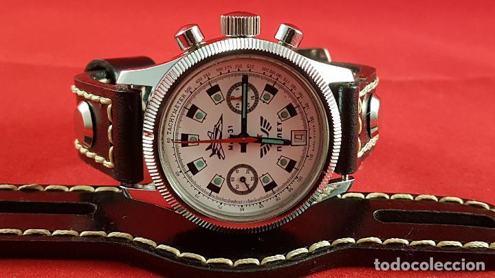 Relojes de pulsera: Reloj cronógrafo mecanico militar ruso POLJOT Buran ( Буран) de 1986 - Foto 23 - 184086755