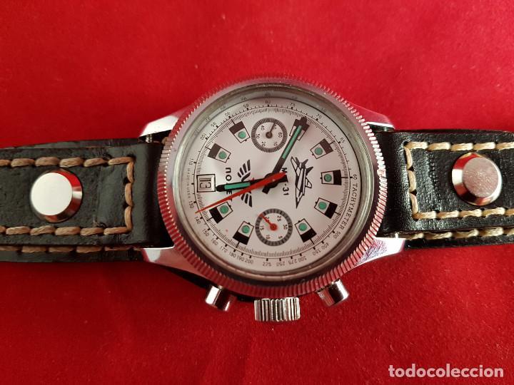 Relojes de pulsera: Reloj cronógrafo mecanico militar ruso POLJOT Buran ( Буран) de 1986 - Foto 34 - 184086755