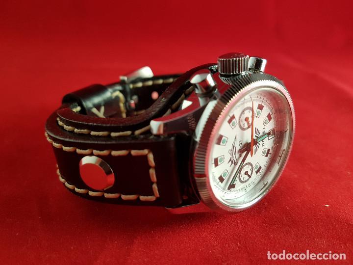 Relojes de pulsera: Reloj cronógrafo mecanico militar ruso POLJOT Buran ( Буран) de 1986 - Foto 35 - 184086755