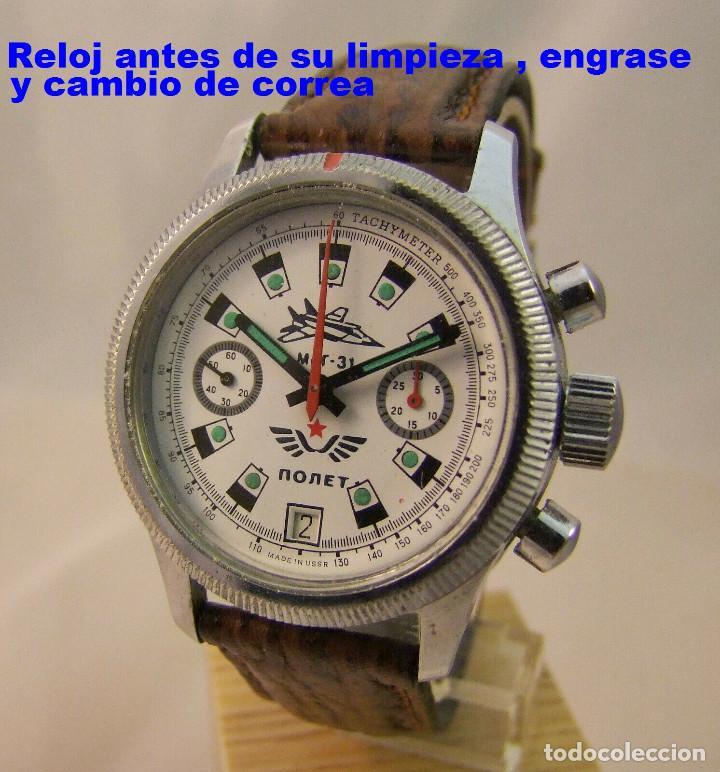 Relojes de pulsera: Reloj cronógrafo mecanico militar ruso POLJOT Buran ( Буран) de 1986 - Foto 36 - 184086755