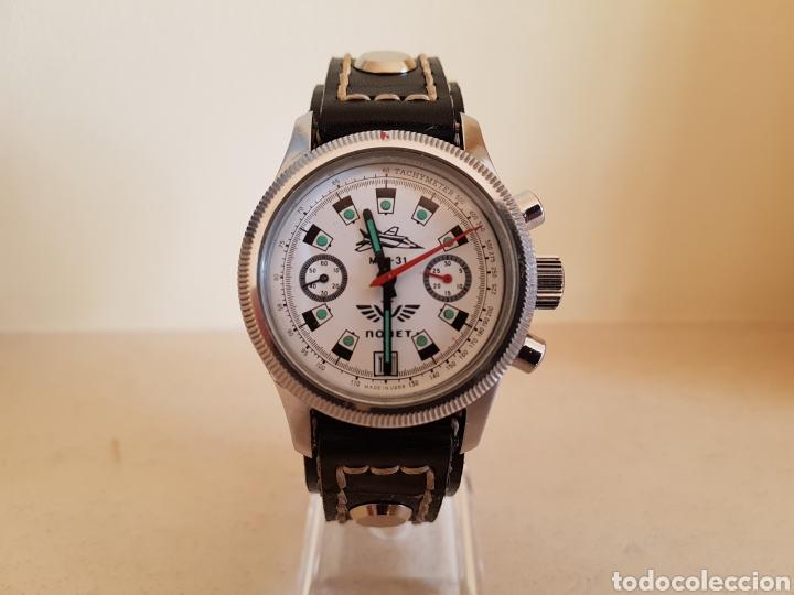 Relojes de pulsera: Reloj cronógrafo mecanico militar ruso POLJOT Buran ( Буран) de 1986 - Foto 38 - 184086755