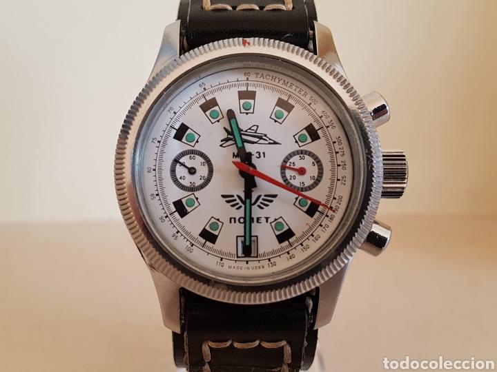 Relojes de pulsera: Reloj cronógrafo mecanico militar ruso POLJOT Buran ( Буран) de 1986 - Foto 3 - 184086755