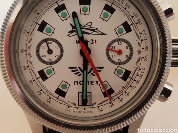 Relojes de pulsera: Reloj cronógrafo mecanico militar ruso POLJOT Buran ( Буран) de 1986 - Foto 5 - 184086755
