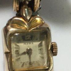 Relojes de pulsera: RELOJ MIRA CARGA MANUAL MAQUINA SWISS MADE Y CAJA CHAPADA ORO 20 MICRAS VINTAGE. Lote 185742685