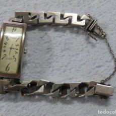 Relojes de pulsera: PRECIOSO RELOJ DE CARGA MANUAL COMPLETO DE PLATA , ART DECÓ, FUNCIONA, DATA DE LOS AÑOS 30. Lote 187615428