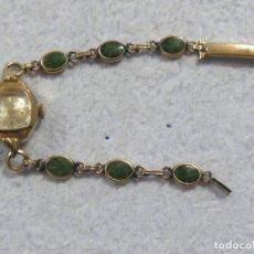 Relojes de pulsera: PRECIOSO RELOJ DE CARGA MANUAL CON CORREA DE ESMERALDAS DE LA MARCA WALTHAM, FUNCIONA, AÑOS 30. Lote 187625876