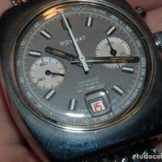 Relojes de pulsera: PRECIOSO RELOJ CRONOMETRO VALJOUX 7734 ROYMAT SWISS MADE CRONO ACERO 17 RUBIS MILANESA. Lote 114833495