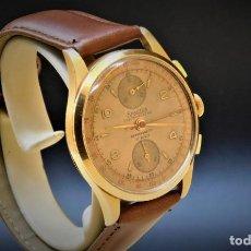 Relojes de pulsera: EXACTUS-CRONOGRAFO-DE ORO 18K-750-PRECIOSO RELOJ DE PULSERA DE CABALLERO-CIRCA 1950-FUNCIONANDO. Lote 190999788