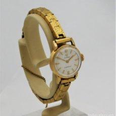 Relojes de pulsera: CYMA-DE ORO 18K-RELOJ DE PULSERA DE DAMA-15 RUBÍES-VINTAGE-CIRCA 1950-1960-FUNCIONANDO. Lote 194125745