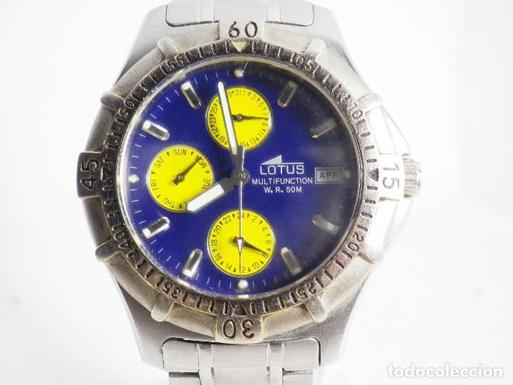 Relojes de pulsera: ANTIGUO Y DEPORTIVO LOTUS CABALLERO TRIPLE CALENDARIO WR50M AÑOS 90 LOTE WATCHES - Foto 5 - 194340603