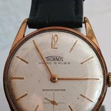 Relojes de pulsera: ANTIGUO RELOJ TECHNOS ANCRE SHOCKMASTER ORO CARGA MANUAL. Lote 194527866