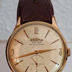 Relojes de pulsera: ANTIGUO RELOJ DOGMA PRIMA ANCRE ANTIMAGNETIC ORO 10 MICRAS FUNCIONA. Lote 194537048