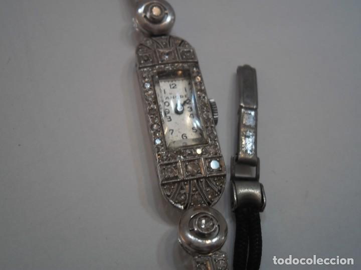 Relojes de pulsera: Reloj de Platino y Diamantes, tipo Art Deco, años 20-30, con pulsera de ropa trenzada - Foto 7 - 194783571
