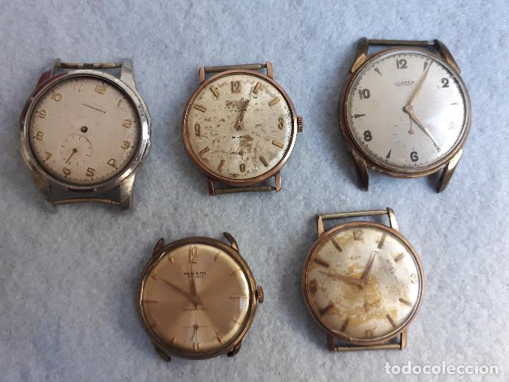 LOTE DE 5 RELOJES MECÁNICOS ANTIGUOS PARA CABALLERO. (Relojes - Pulsera Carga Manual)