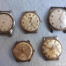 Relojes de pulsera: LOTE DE 5 RELOJES MECÁNICOS ANTIGUOS PARA CABALLERO.. Lote 194873413