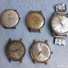 Relojes de pulsera: LOTE DE 5 RELOJES MECÁNICOS ANTIGUOS PARA CABALLERO.. Lote 194873933