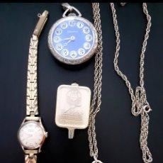 Relojes de pulsera: LOTE DE 4 RELOJES ANTIGUOS Y VINTAGE MUJER LINGOTE ORO, EXACTUS 15 JEWELLS... NO FUNCIONAN. Lote 195023762