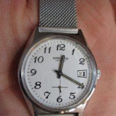 Relojes de pulsera: RELOJ DE PULSERA SUPERWATCH CARGA MANUAL-CUERDA - SUIZO - CALENDARIO - FUNCIONANDO. Lote 196146062