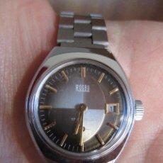Relojes de pulsera: RELOJ DE PULSERA ROSBU CARGA MANUAL-CUERDA - CALENDARIO - FUNCIONANDO - CORREA DE ACERO INOXIDABLE -. Lote 196147317