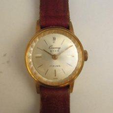 Relojes de pulsera: RELOJ CAUNY STAR LADY 17 RUBIS - CHAPADO EN ORO. Lote 196253982