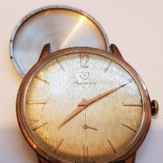 Relojes de pulsera: RELOJ SUIZO NIVADA PARA CABALLERO -PLAQUE 10(GR) FUNCIONANDO - AÑOS 1958/1960 - NUMERADO -17 RUBÍES. Lote 196671201