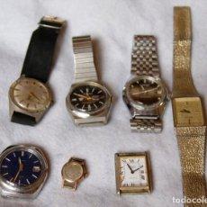 Relojes de pulsera: LOTE DE 6 RELOJES MECANICOS DE CABALLERO PARA PIEZAS MORTIMA, SEIKO, F30. Lote 197051982
