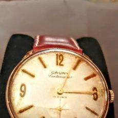 Relojes de pulsera: RELOJ CAUNY CENTENARIO 17 RUVIS DE CUERDA CHAPADO 10MICRAS ORO FUNCIONA PERFECTAMENTE DIAMETRO 35MIL. Lote 198541121