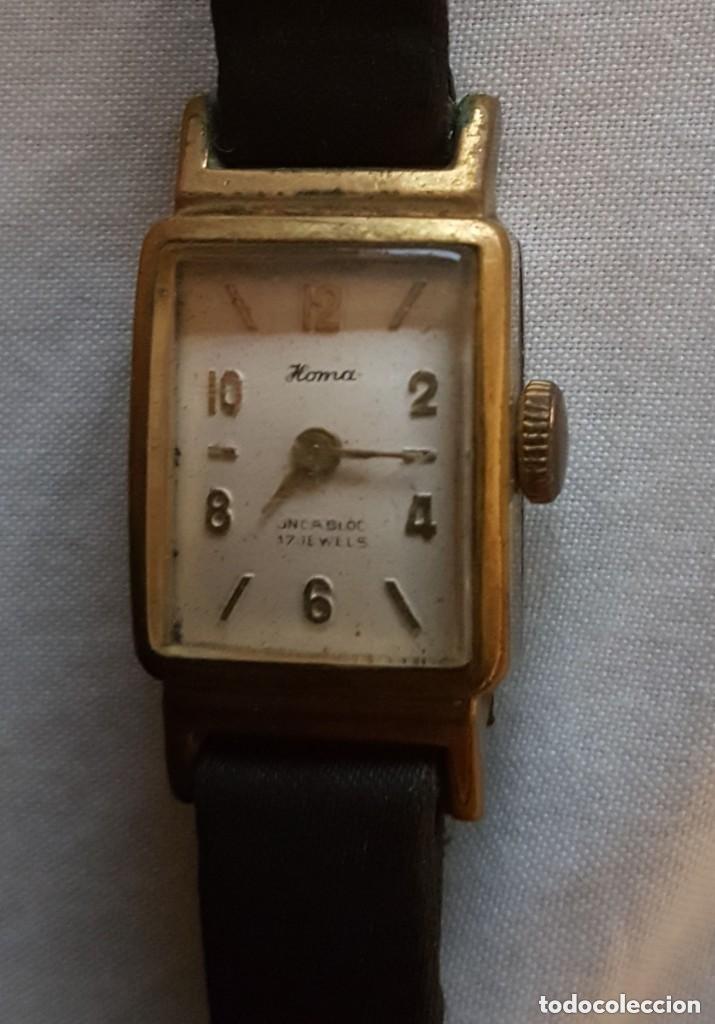 HOMA INCABLOC 17 JOYAS 1942 - RELOJ DE SEÑORAS ORO PLATEADO (Relojes - Pulsera Carga Manual)