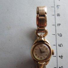 Relojes de pulsera: RELOJ DE MUJER DE CUERDA EN PLACA DE ORO 20 MICRAS MARCA TUCAH 17 RUBIS SUIZO FUNCIONANDO 18 CM. Lote 201098671