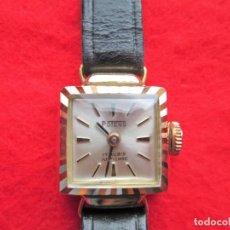 Relojes de pulsera: RELOJ DE PULSERA SUIZO POTENS CON SU CAJA EN ORO DE 18 KLTS- CARGA MANUAL-CUERDA - PULSERA PIEL NEGR. Lote 203763865