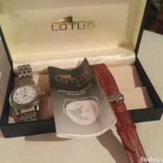 Relojes de pulsera: RELOJ LOTUS CABALLERO, CON CADENA Y CORREA DE REPUESTO, CRISTAL DEL DIAL MINERAL. Lote 203884246