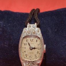 Relojes de pulsera: RELOJ MOVADO ART DECO DE DAMA EN PLATINO Y DIAMANTES. Lote 205326726