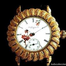 Relojes de pulsera: RELOJ ELGIN 1920. PLAQUE ORO 24K.PIEZA UNICA. ALTA JOYERIA. 53MM. Lote 205869880