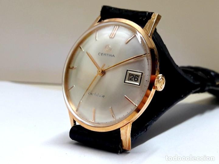 RELOJ CERTINA MODELO CERTIDATE EN ORO DE LEY AÑOS 60 CARGA MANUAL CALIBRE 25-661 Y NUEVO A ESTRENAR (Relojes - Pulsera Carga Manual)