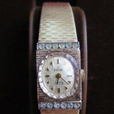Relojes de pulsera: RELOJ DE PULSERA POTENS CARGA MANUAL CON CIRCONITAS - FUNCIONA - CORREA ORIGINAL CHAPADO EN ORO - SI. Lote 210545516