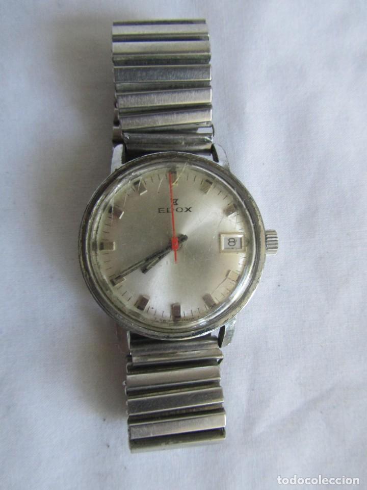 Relojes de pulsera: Reloj de cuerda Edox, funcionando - Foto 2 - 211911681