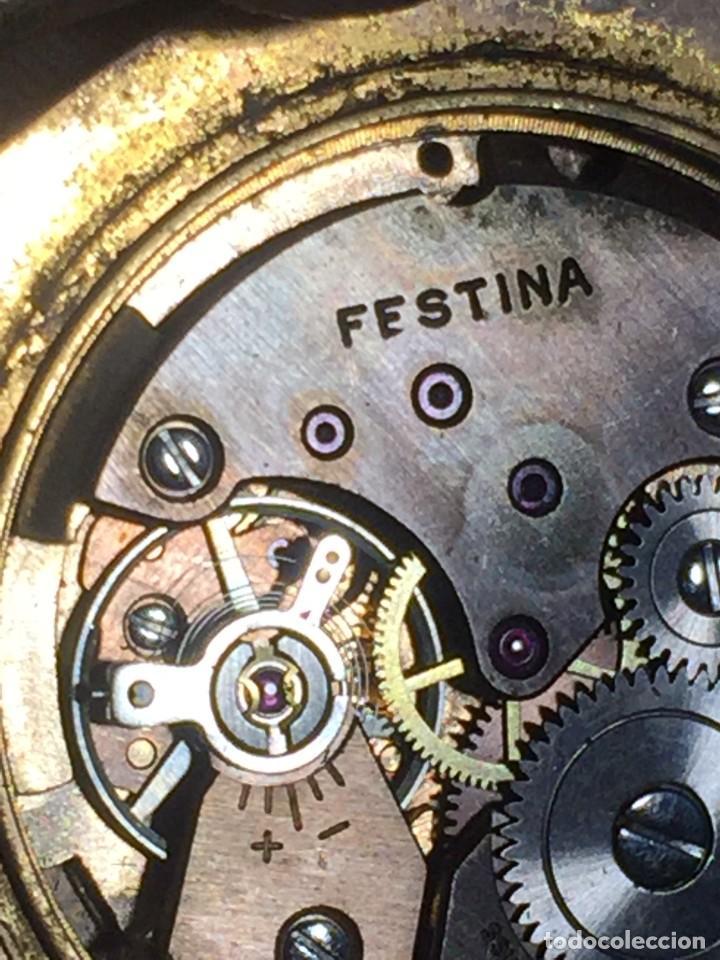 Relojes de pulsera: reloj pulsera swiss suizo festina 17 jewels calendario a las 3 incabloc corona años 40 50 35mm - Foto 10 - 212271856