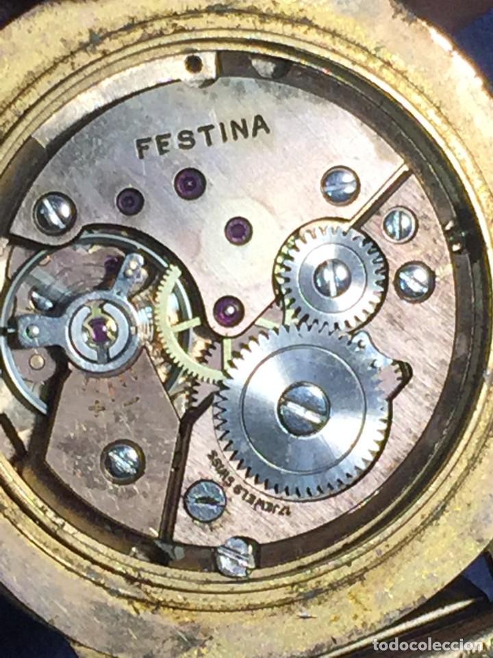 Relojes de pulsera: reloj pulsera swiss suizo festina 17 jewels calendario a las 3 incabloc corona años 40 50 35mm - Foto 12 - 212271856