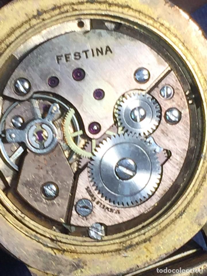 Relojes de pulsera: reloj pulsera swiss suizo festina 17 jewels calendario a las 3 incabloc corona años 40 50 35mm - Foto 13 - 212271856