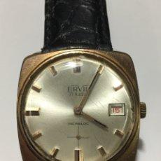 Relojes de pulsera: RELOJ ERVIE CARGA MANUAL CAJA CHAPADA EN FUNCIONAMIENTO VINTAGE. Lote 213324943