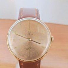 Relojes de pulsera: RELOJ CABALLERO (VINTAGE) CERTINA CHAPADO ORO 10 MICRAS DE CUERDA, 15 RUBÍS, CORREA CUERO MARRÓN.. Lote 213426661