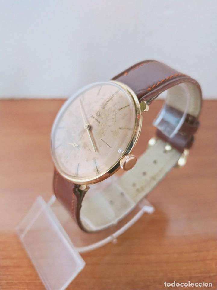 Relojes de pulsera: Reloj caballero (Vintage) CERTINA chapado oro 10 micras de cuerda, 15 rubís, correa cuero marrón. - Foto 4 - 213426661