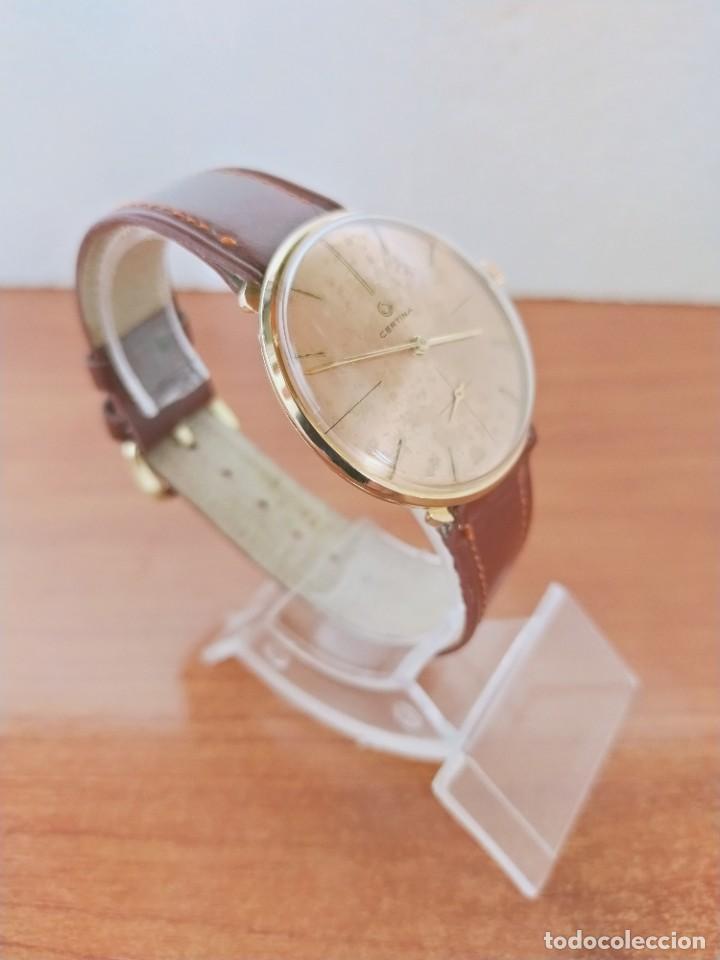 Relojes de pulsera: Reloj caballero (Vintage) CERTINA chapado oro 10 micras de cuerda, 15 rubís, correa cuero marrón. - Foto 6 - 213426661