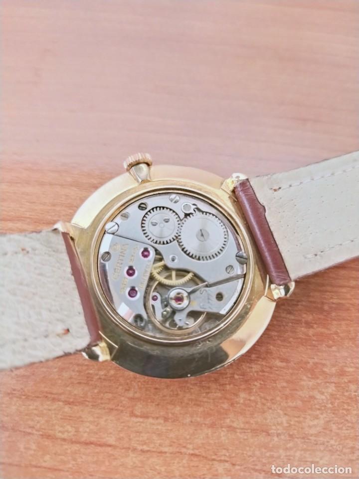 Relojes de pulsera: Reloj caballero (Vintage) CERTINA chapado oro 10 micras de cuerda, 15 rubís, correa cuero marrón. - Foto 9 - 213426661
