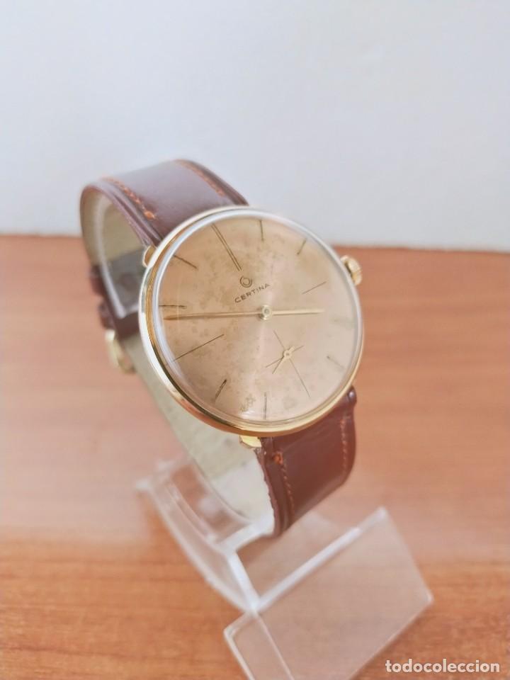 Relojes de pulsera: Reloj caballero (Vintage) CERTINA chapado oro 10 micras de cuerda, 15 rubís, correa cuero marrón. - Foto 12 - 213426661