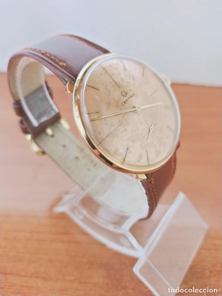 Relojes de pulsera: Reloj caballero (Vintage) CERTINA chapado oro 10 micras de cuerda, 15 rubís, correa cuero marrón. - Foto 13 - 213426661