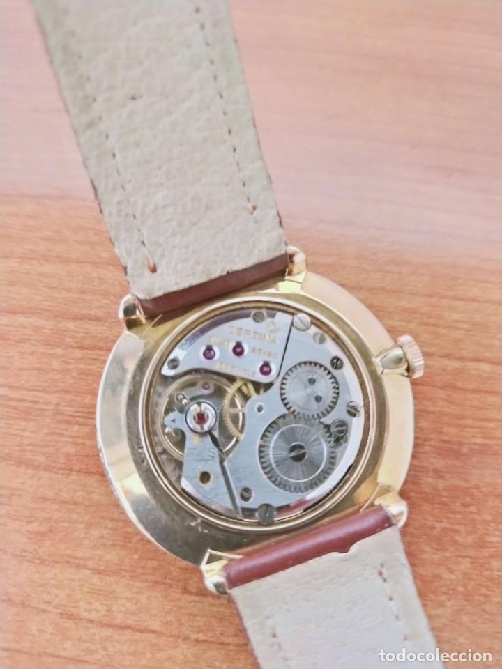 Relojes de pulsera: Reloj caballero (Vintage) CERTINA chapado oro 10 micras de cuerda, 15 rubís, correa cuero marrón. - Foto 15 - 213426661